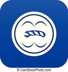 Circle button icon blue vector