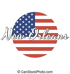 Circle button Icon of national flag of The United States of America with red and blue colors and inscription of city name: New Orleans in modern style. Vector EPS10 illustration.