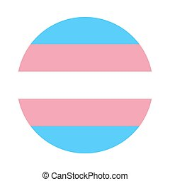 Circle button Icon of official transgender community flag with blue, white and pink stripes. Template for banner, card, poster.
