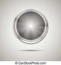 Circle button template with metal texture - Abstract...