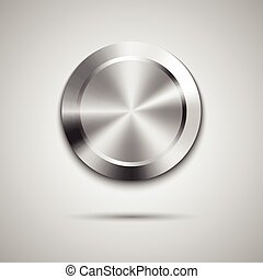 Circle button template with metal texture - Abstract ...