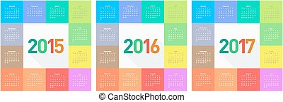Circle calendar for 2015 2016 2017 years