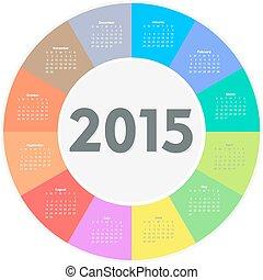Circle calendar for 2015 year