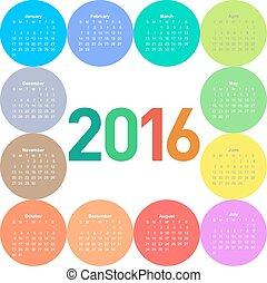 Circle calendar for 2016 year.