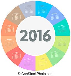 Circle calendar for 2016 year