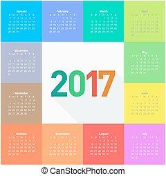 Circle calendar for 2017 year