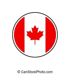 Circle canada flag with icon vector isolated on white background