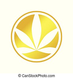 Circle Cannabis Golden Emblem Symbol Logo Design