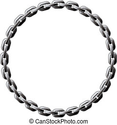 Circle chain - Steel chain coiled in a circle isolated on...