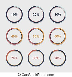Circle chart, graph, infographic percentage templates collection.