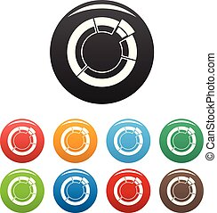 Circle chart icons set collection circle