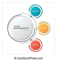 Circle chart infographic template with 3 options