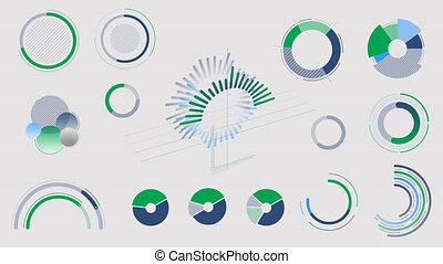 Circle charts and diagrams on the alpha channel - A set of...