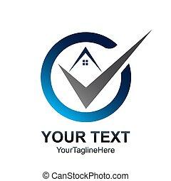 Circle check home logo template. Real Estate element design