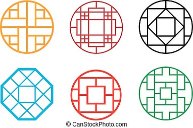 Circle Chinese pattern window frame, vector