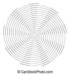 Circle circular rotation design element. Spiral lines pattern.
