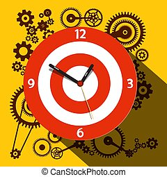 Circle Clock Face with Cogs on Background. Vector Flat Design Illustration.