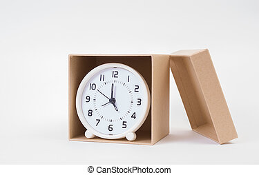 Circle clock in a box on white background