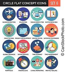 Circle Colorful Concept Icons. Flat Design. Set 6.