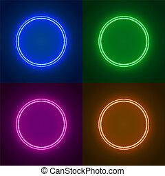 circle., cornice, neon, forma, segno