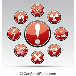 Circle Danger sign collection