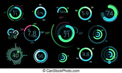 Circle decorative graphs and charts on the black background