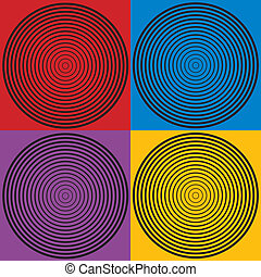 Four ascending and descending concentric circle designs in black on red, yellow, blue and purple backgrounds.