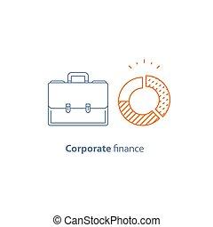 Circle diagram, company expenses, financial analytics...