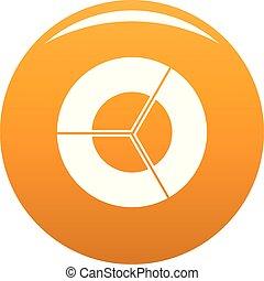 Circle diagram icon vector orange