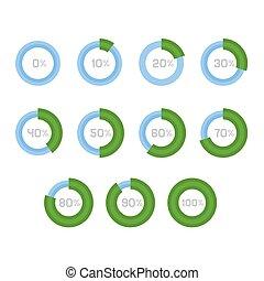 Circle Diagram Pie Charts Infographic Elements. Vector