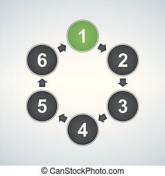 Circle diagram with six elements, infographic template, vector