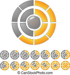 Gold and gray round download bar with twelve position.