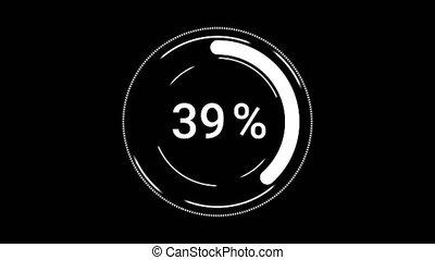 Circle download or upload progress bar on a black background. Percent indicator