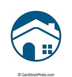 Circle Emblem Blue House