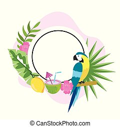 circle emblem with parrot and tropical flowers