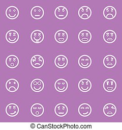 Circle face line icons on violet background