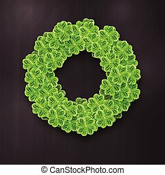 Circle filled with Realistic Clover leaves for St. Patricks Day holiday. Shamrock grass symbol. Lucky flower for Irish festival. Scottish ornament on backdrop