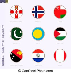 Circle flag with shadow, collection of nine round flag. Vector flags of 9 countries.
