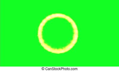 Circle Flame On Green Screen