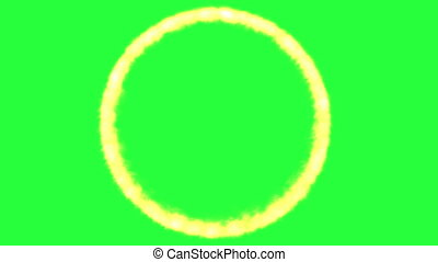 Circle flame on green screen