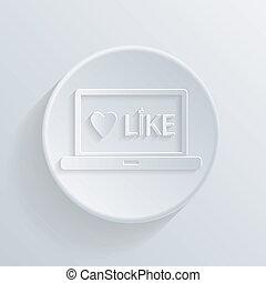 circle flat icon. laptop with symbol  thumb up