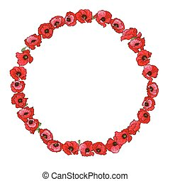 Circle floral frame of detailed hand drawn red poppies. Vector illustration.