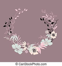 Circle floral frame with leaves and flowers.