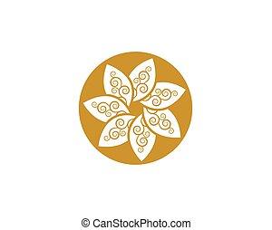 Circle flower icon Logo Template