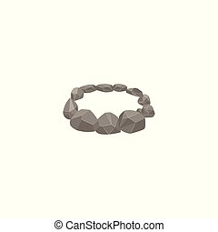 Circle forest campfire place with grey stones cartoon vector illustration isolated.