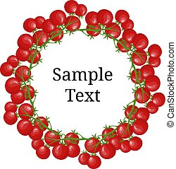 Circle Frame from Tomatoes with Space for Text. Fresh Red Cherry Tomato Branch Vegetable isolated on white background. Organic Food. Cartoon Style. Vector illustration for Your Design, Web.