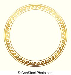 Circle Frame Golden Spirals Running Dog Pattern