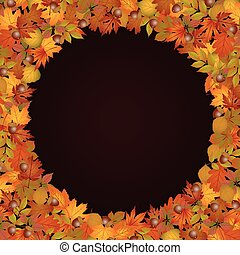Circle frame made of autumn leaves