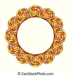 Circle frame made of colorful lollipop candy.
