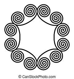 Circle frame made of double spiral ornaments
